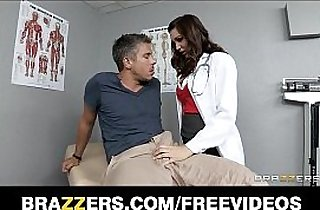 Sexy brunette doctor Holly Michaels gives her patient a check up