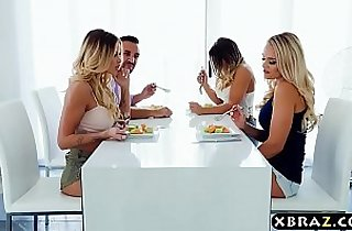 Couple with lesbian housemates end up in a hot foursome