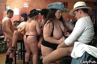 Bar orgy session with fat whores
