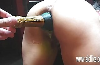 Extreme anal bottle penetrations