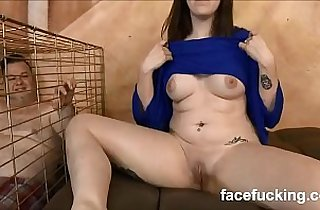 new Slut cheating wife takes pet husband to watch her get destroyed hard