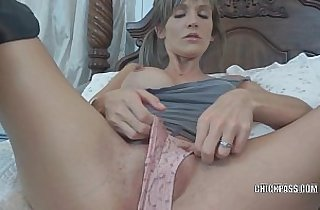 Blonde wife Jolene in black boots while fucking her toys and sucking dick