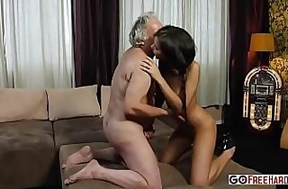 Old man fucking her ass with russian beautiful Hennessy