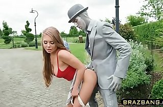 Living statue fucks cock hungry slut with his huge black monster cock