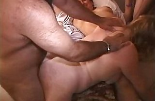 Hubby spanks tiny blonde MILF ass Makes her fuck his guy gal pals