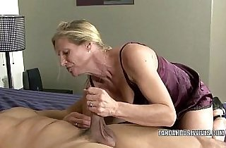 Mature slut Violet fucks black dude