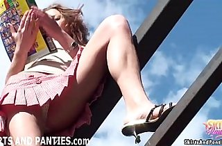 Farmers daughter Lilia flashing her panties