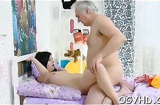 Brave youthful gal drilled by old rod