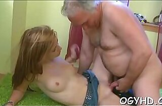 Hot young blonde babe gets screwed by old lad