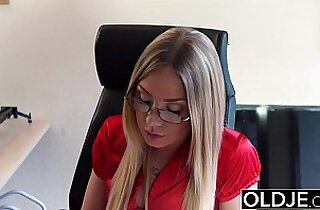 Old Young Blonde blowjob and doggystyle fuck from grandpa young black girl sex