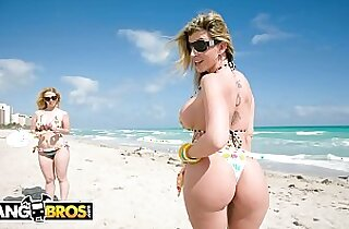 Sara Jay and Krystal Star Show Off Their Big Asses At The Beach