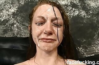 Skinny slut cries after brutal face fucking and slapping