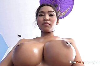 Massaging big natural boobs before fucking raw