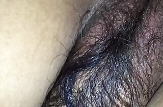 Hairy wife in black bra tight asshole enjoying doggy style with her husband friend